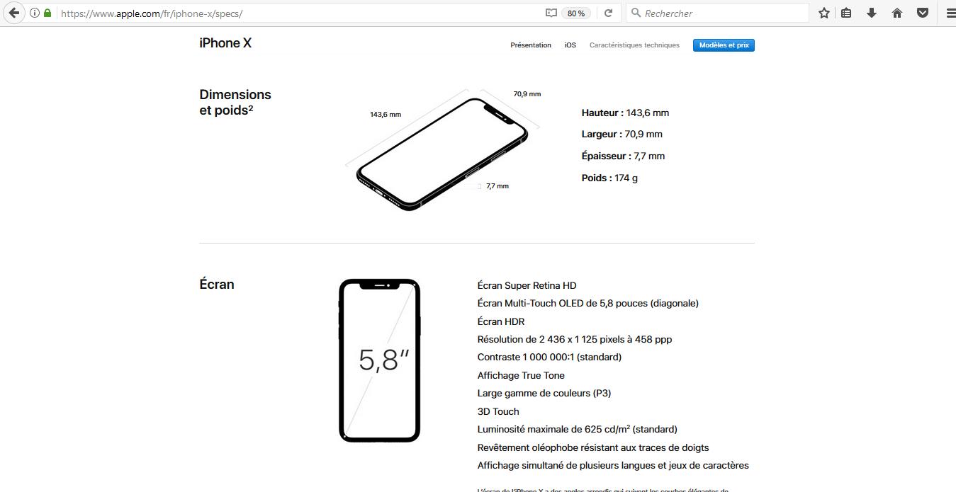 iPhone X caracrétistiques