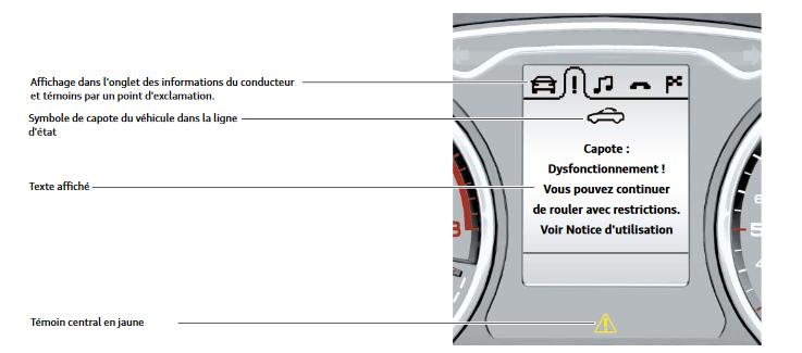 Affichage de l'alerte avec un combiné d'instruments monochrome :