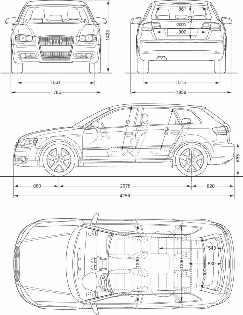 Dimension Audi A3 Sportback